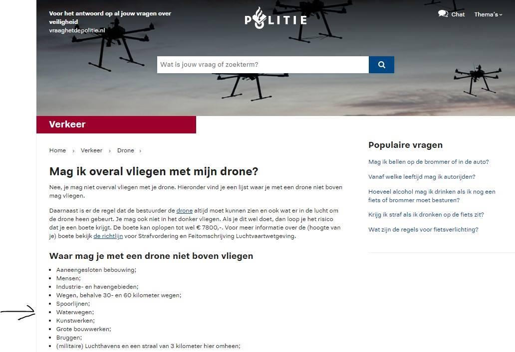 MAG EEN ROC-LIGHT DRONE-PILOOT OVER EEN WATERWEG VLIEGEN?